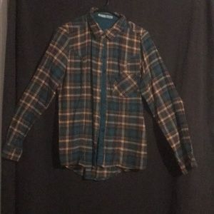 Maurices teal, tan, and brown button up shirt